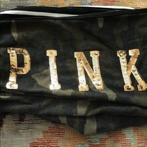 PINK Camo Bling Sweatpants in Rose Gold